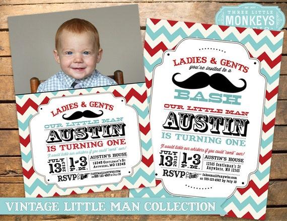 Little Man Birthday Party Little Man Invitation Mustache Party