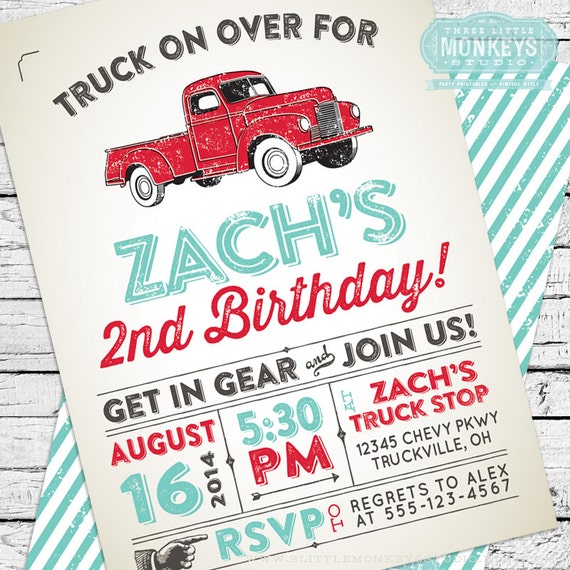 vintage truck invitation thank you note etsy