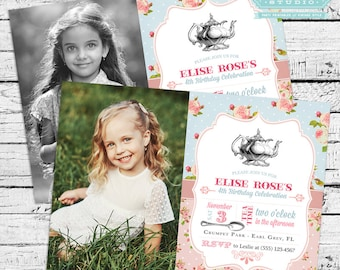 Vintage Tea Party Birthday Photo Invitation + Thank You Note