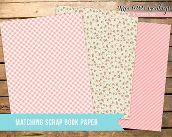 Vintage Pony Party Matching Scrap Book Papers INSTANT DOWNLOAD