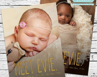 Meet Baby Photo Birth Announcement