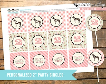 "Vintage Pony Party Personalized 2"" Party Circles Cupcake Toppers Favor Tags"