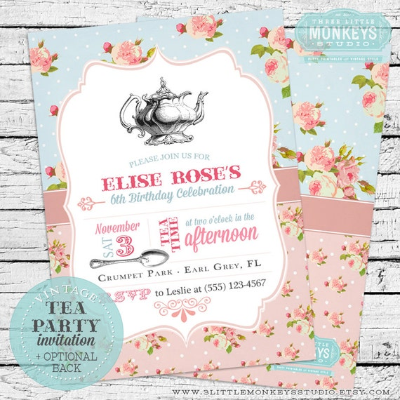 Vintage Tea Party Birthday Invitation Thank You Note By Three