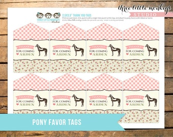 Vintage Pony Party Personalized Favor Thank You Tags