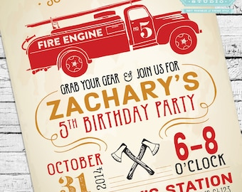 Vintage Firefighter Invite + Party Pack Printables