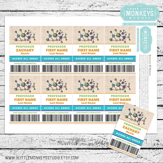 science birthday party fillable and printable id badges etsy