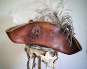Leather Pirate Tricorn Hat with tooled skull n rose