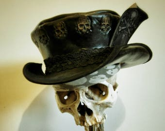 Steampunk Leather Top Hat, Black Leather Gothic Hat, Leather Topper