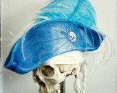 Ocean Blue Leather Tricorn Hat