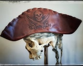 Leather Pirate Tricorn Hat - Calico Jack