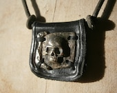 White Bronze Skull n Leather Necklace