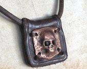 Copper Skull on Leather Pendant