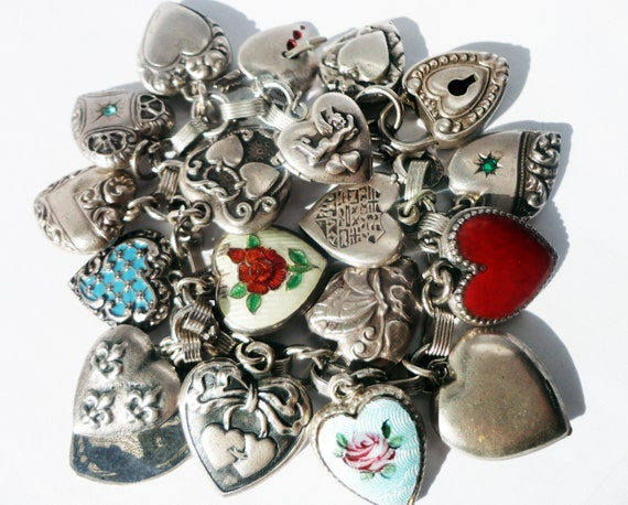 Vintage Heart Bracelet Sterling Silver Heart Bracelet. Silver Heart Bracelet