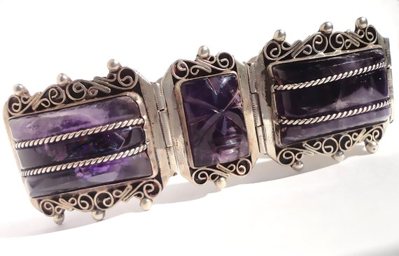 Mexican,Mexico Bracelet,Vintage Mexican Amethyst S