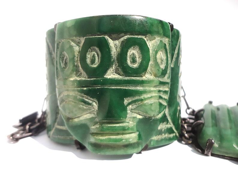 Vintage Mexican Bracelet,Mexico Bracelet,Mexican Sterling Silver Onyx Bracelet,Carved Tribal Face Bracelet,Antique Mexican Bracelet,137grams