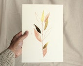 Gold Willow, plant art print, peach pink and gold foil original illustration, botanical wall decor, original art painting