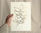 Golden Spring Arbutus - gold foil art print, nature inspired botanical art, original plant leaf illustration wall decor