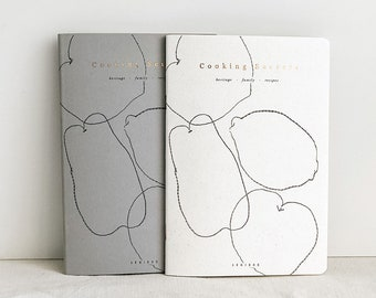 Lot of 2 Cooking Secrets, heritage - family - recipe notebook, minimalist grey cover with copper foil and fruit illustration