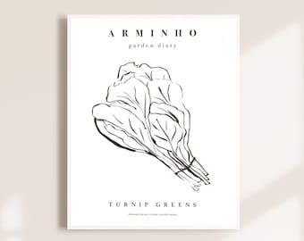Turnip Greens vegetable art illustration black and white minimal print