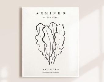 Arugula rocket, greens minimal illustration poster, rucola kitchen botanical black and white print, original art wall decor