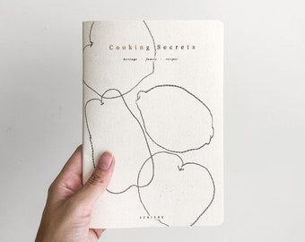 Cooking Secrets, heritage - family - recipe notebook, handmade recipe book, minimalist grey cover with copper foil and fruit illustration