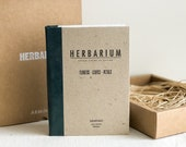 Herbarium archive book - collect your pressed and dried plants, leaves and flowers into this handmade folder book, letterpress print