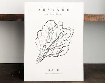 Kale, garden plants minimal illustration poster, kale kitchen botanical black and white print, original art wall decor