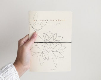 The Botanist Notebook, for pressed flowers, leaves and plants, botanical journal to take field notes, garden and nature. Copper foil print