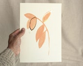 Pink Gold leaves, handmade painting art print with gold foil, original botanic illustration, pastel peach rose pink paper print, minimalist
