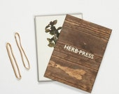 Herb Press - botanical plants, leaves and flowers nature herbarium dry, press and storage - antique aged wood and letterpress gold foil