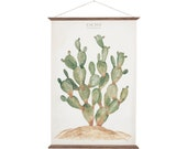 Cactus - Opuntia Jamaicensis - plant botanic watercolor paint art print illustration wall decor poster - CAC1001