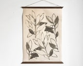 Black and white raw canvas botanical two leaves  original art, wall hanging illustration poster, wooden frame watercolor painting