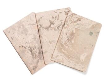 Marmoratus Tribus - lot of 3 - Notebook gold marbled - pastel rose - golden foil letterpress GLDR50L3