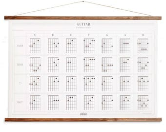 Guitar - chords chart poster - ink art print wall decor music learning canvas poster - home decor  GCP001