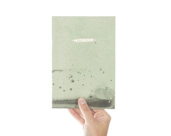 SALE -50% Nigrum Unda #3 gold notebook - pastel green and black cover - letterpress golden foil GLD5003