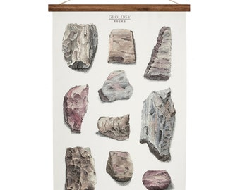 Geology Rocks - canvas poster - vintage educational chart illustration - rock and mineral wall art print ROP2001B