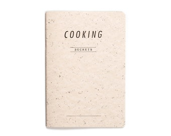 COOKING secrets - letterpress printed notebook - Pastel Salmon color - handmade kitchen stationery  COOK5008R