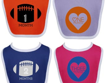 Monthly bib set - football or hearts