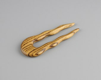 """Zebrano Wavy Hair Fork (4.5"""" long) - Hand Carved"""