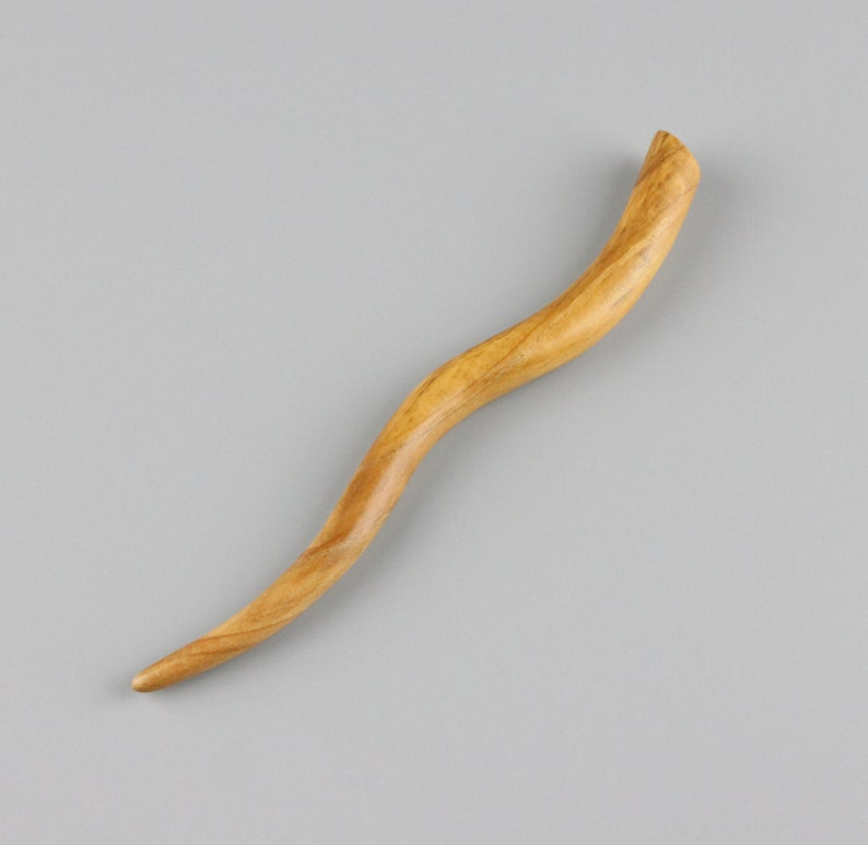 Blue Cedar Wood Wavy Hair Stick 5.25 inches image 0