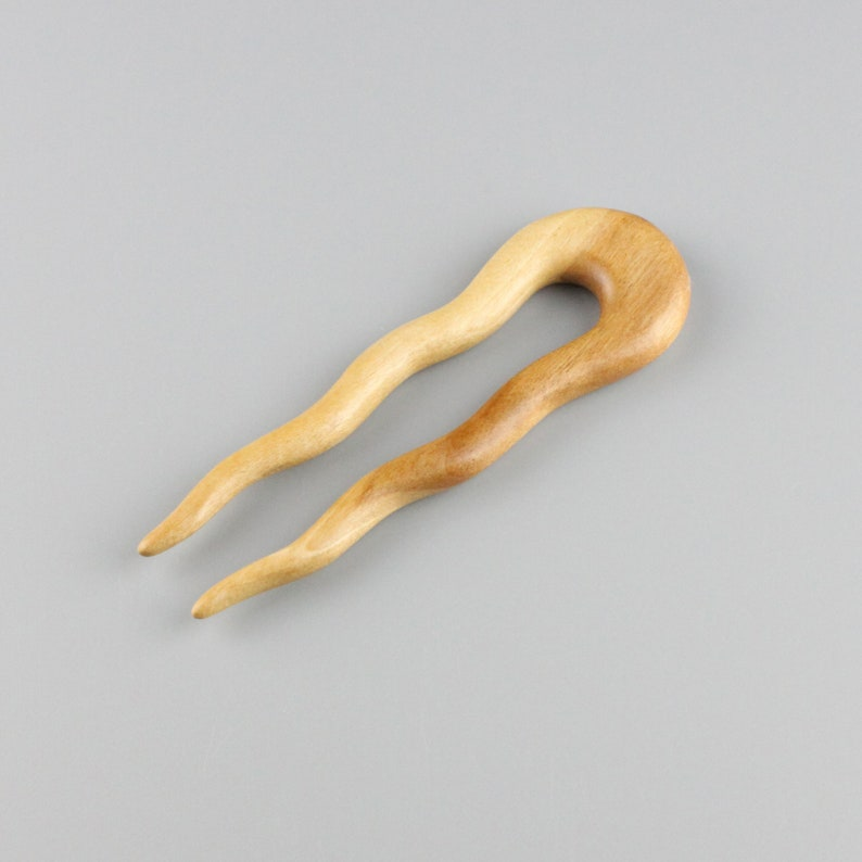 Wavy Hair Fork in Silver Birch 5 long  Hand Carved image 0