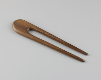 "Black Walnut Hair Fork (7"" long) - Hand Carved"