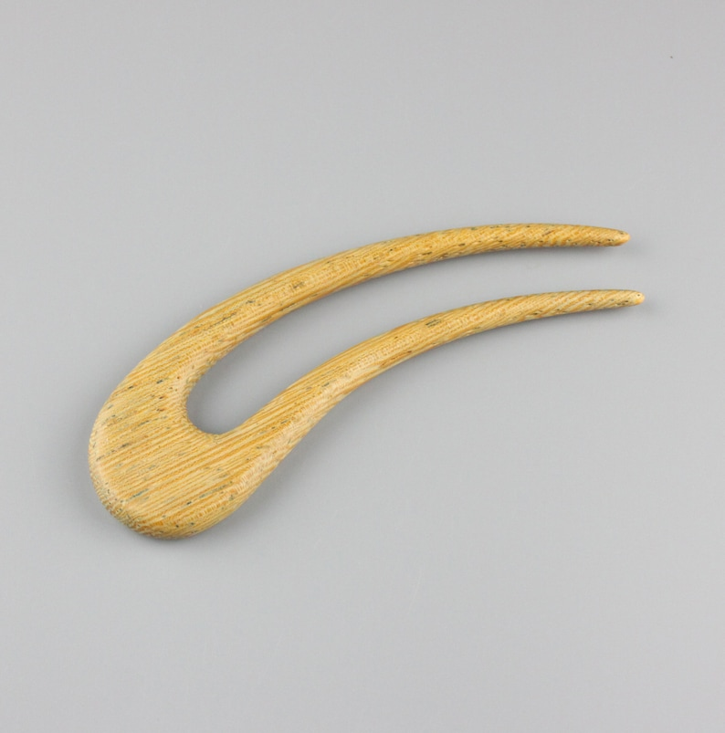 Lati Curved Hair Fork 5.75 long  Hand Carved image 0