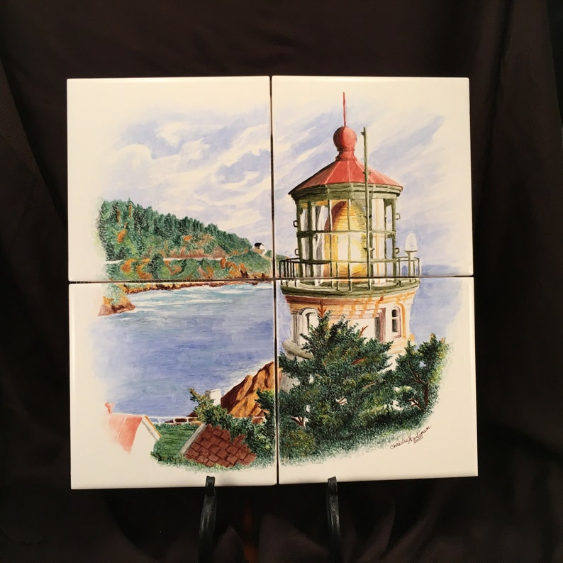 Lighthouse Wall Tile Mural Hand Painted By Artist Christie image 0