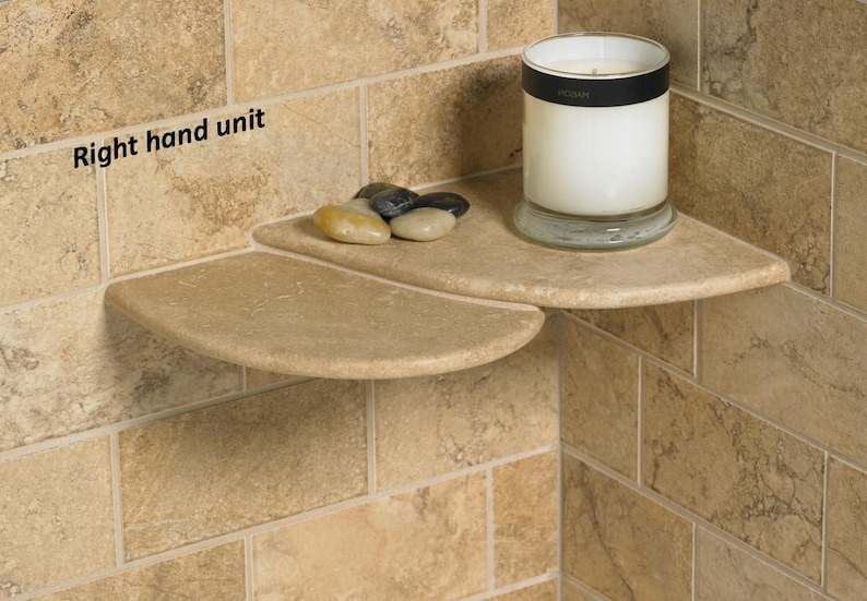 Oros-Handcrafted Natural Stone Shower Shelf unit Installs image 0