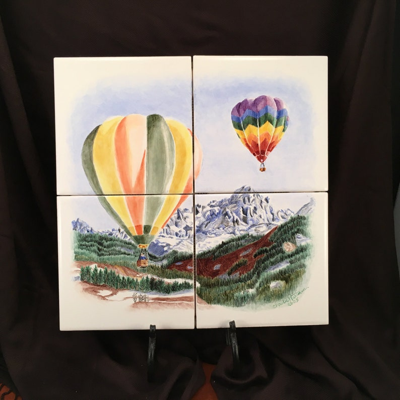Wall Tile Mural Hand Painted Air Balloon Painting Fired On image 0