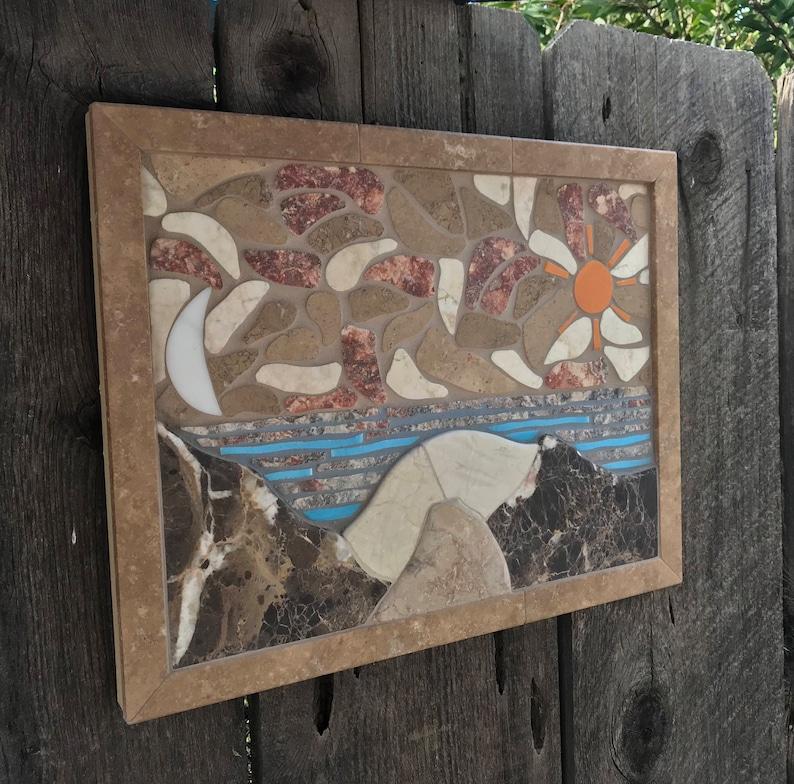 Mosaic Wall Art Handmade Tile Mountain Scene Decorative Wall image 0