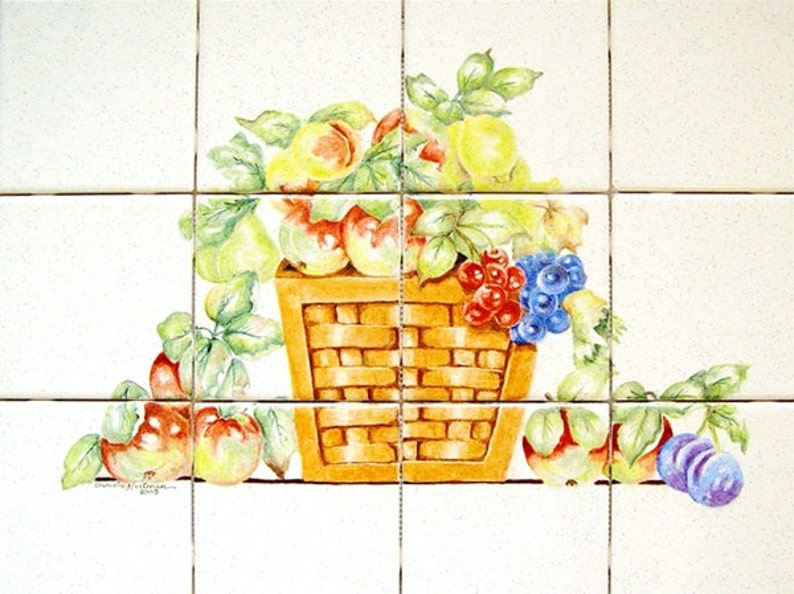 Fruit Basket Wall Tile Mural Hand Painted Fired On Tiles image 0