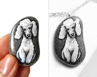 White Poodle, Dog Art, Pet Portrait Stone Necklace, Hand Painted Pebble Jewelry, Memorial Painting, Keepsake Gift for Her, River Rock