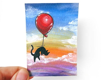 Black Cat ACEO Original Art, Pet Painting, Cat Lover, Balloon Decor, Rainbow Artwork, Memorial Gift, Pet Loss, In Memory, Cat Owners